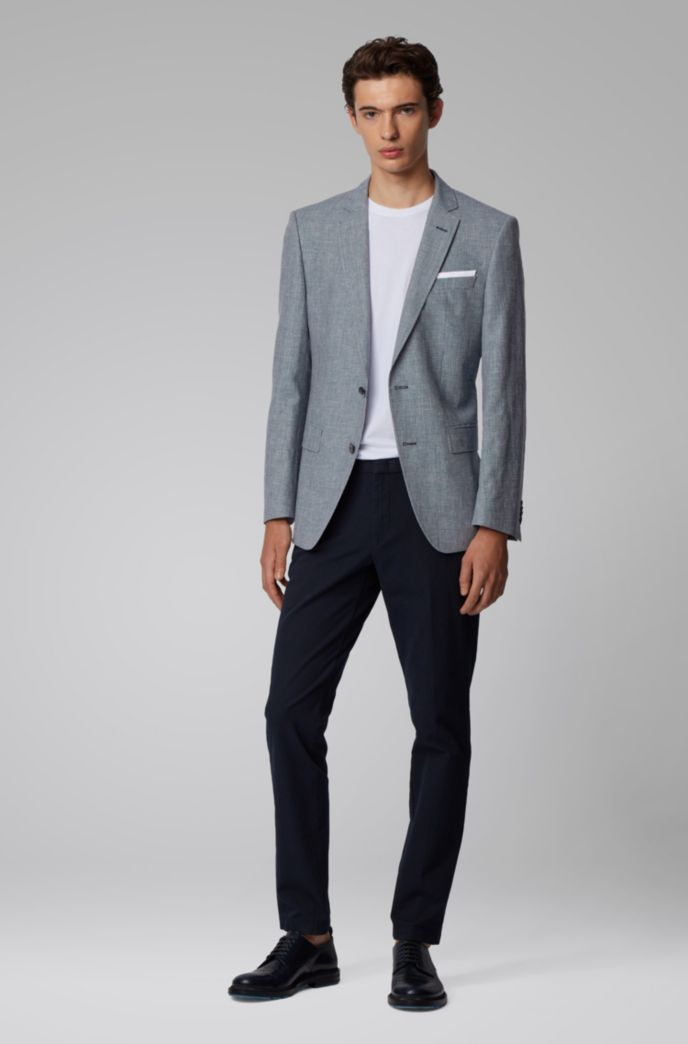 Slim-fit jacket in virgin wool and linen