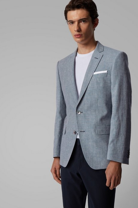 Slim-fit jacket in virgin wool and linen, Blue
