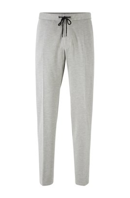 Slim-fit pants in stretch fabric with elasticated waistband, Grey
