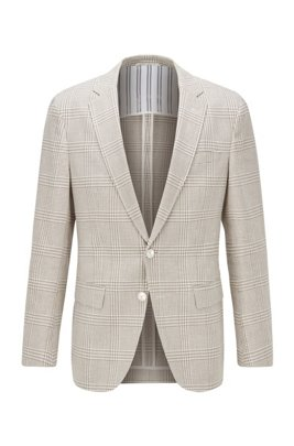 Checked slim-fit jacket in cotton and linen, Light Beige