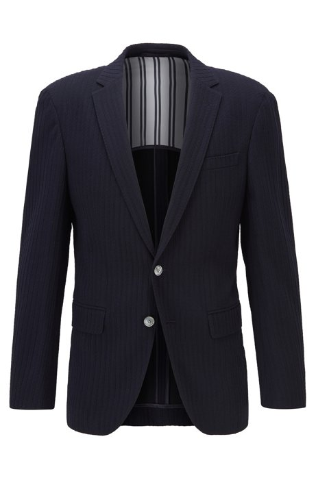 Slim-fit wool-blend jacket with structured stripes, Dark Blue