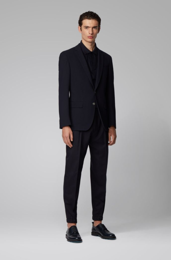 Slim-fit wool-blend jacket with structured stripes