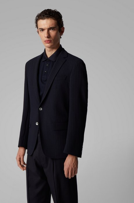 Slim-fit wool-blend jacket with structured stripes, Dark Blue