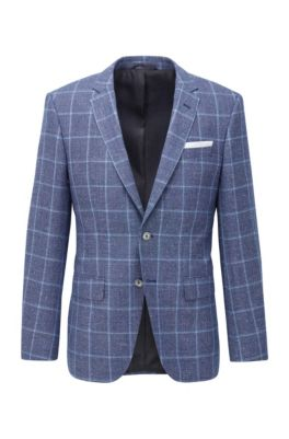 Checked slim-fit jacket in virgin wool and linen, Blue