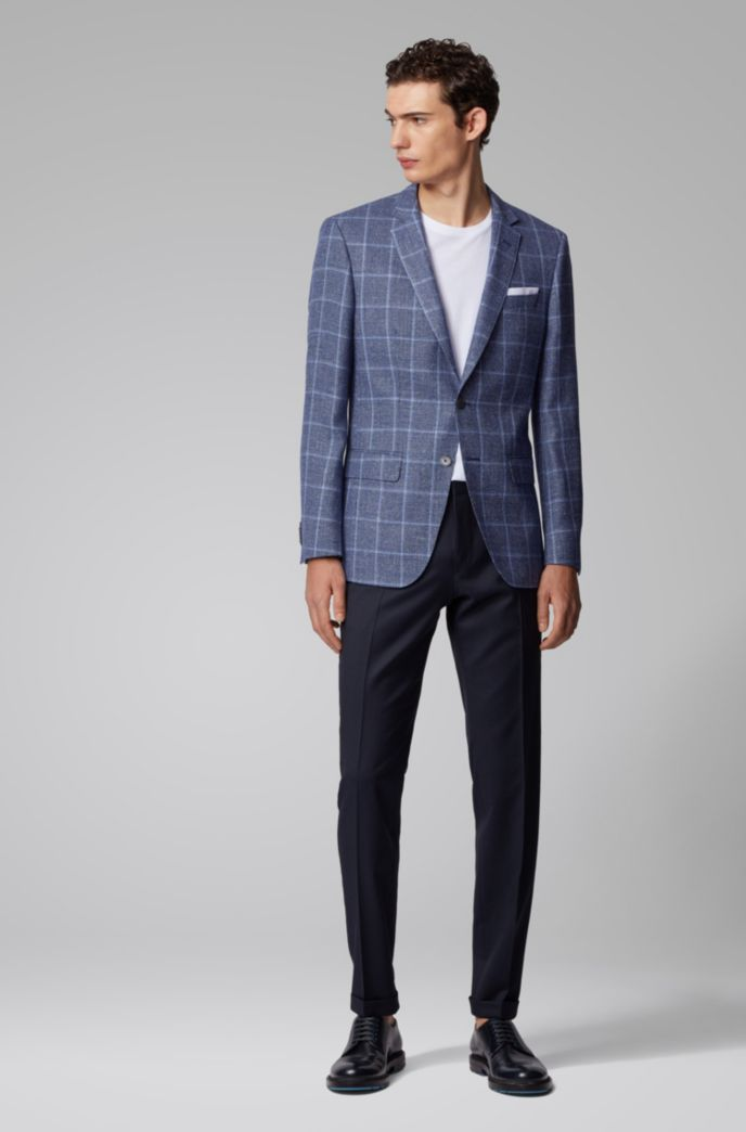 Checked slim-fit jacket in virgin wool and linen