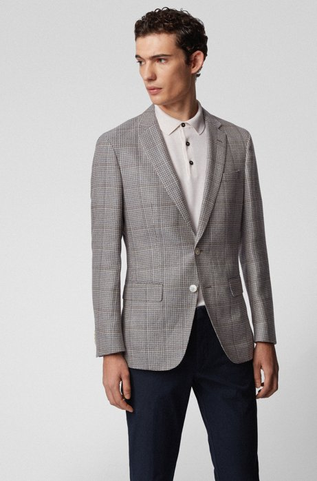 Slim-fit jacket in virgin wool with linen, Silver