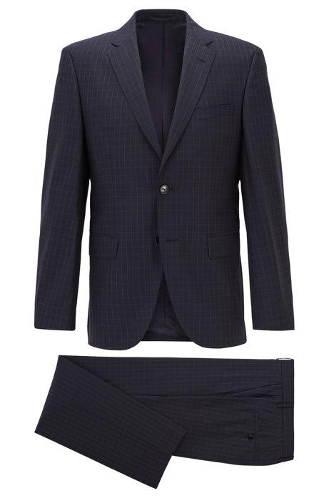 Regular-fit suit in checked virgin wool, Dark Blue