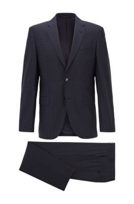 Regular-fit suit in checked virgin wool, Dark Blue