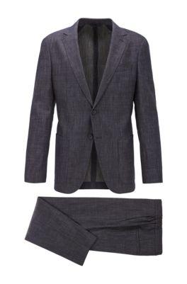 Slim-fit suit in wool and linen, Dark Blue