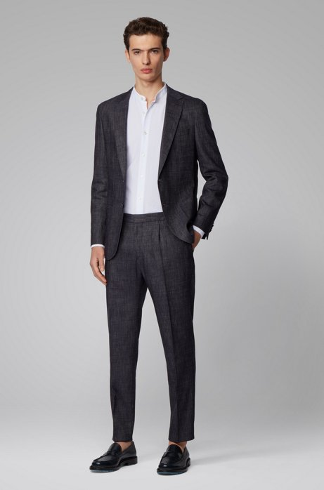 Slim-fit suit in wool and linen, Dark Blue