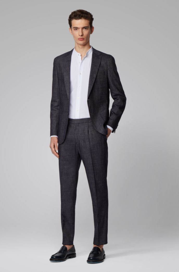 Slim-fit suit in wool and linen