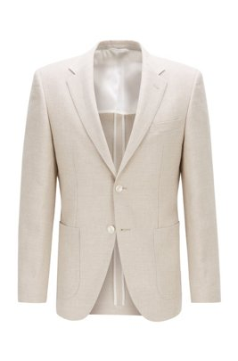 Regular-fit jacket in virgin wool and linen, White