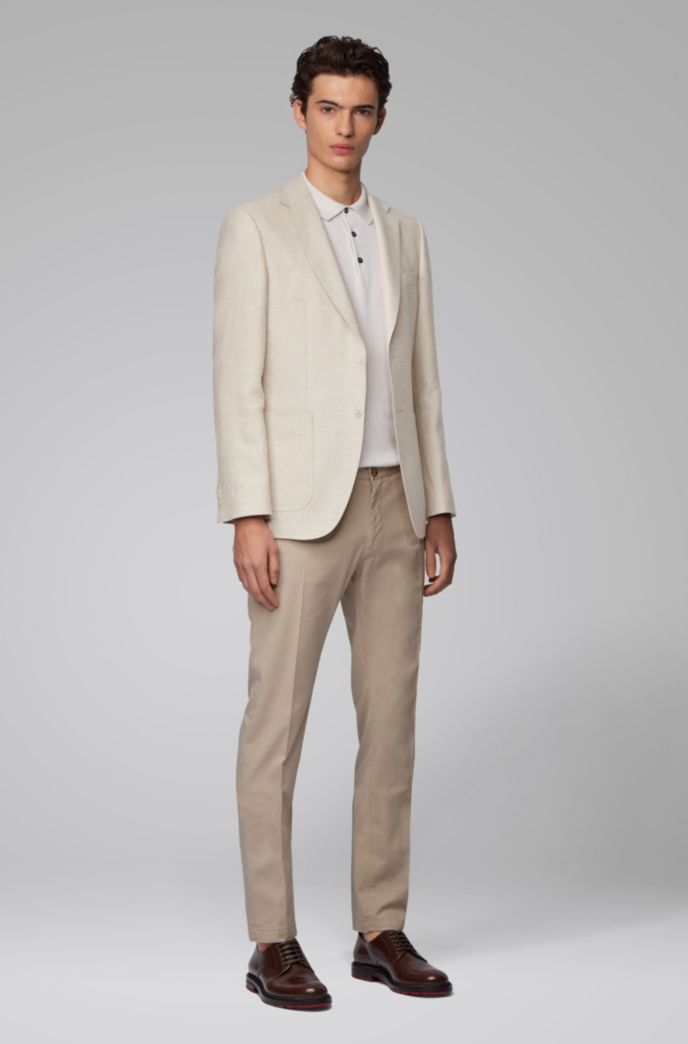 Regular-fit jacket in virgin wool and linen