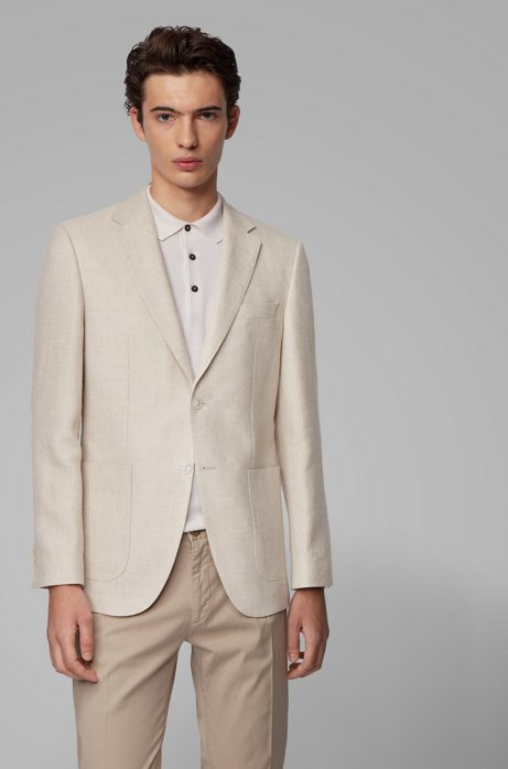 Regular-fit jacket in virgin wool and linen, Natural