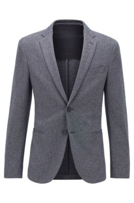 Slim-fit jacket in melange jersey with stretch lining, Dark Blue