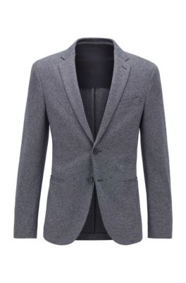 Slim-fit jacket in melange jersey with stretch lining, Dark Blue