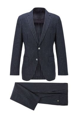 Pinstripe slim-fit suit with mother-of-pearl buttons, Dark Blue