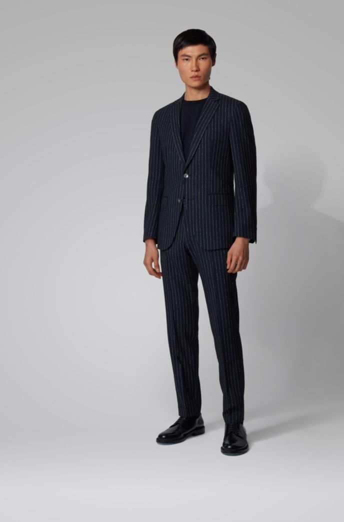 Pinstripe slim-fit suit with mother-of-pearl buttons