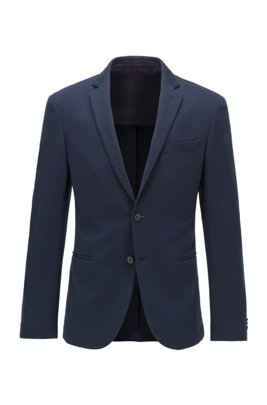 Slim-fit jacket in cotton-blend jersey, Dark Blue
