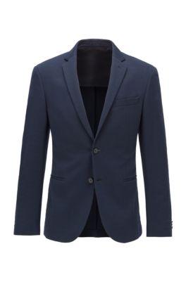 Slim-fit jacket in cotton-blend jersey, Dark Blue
