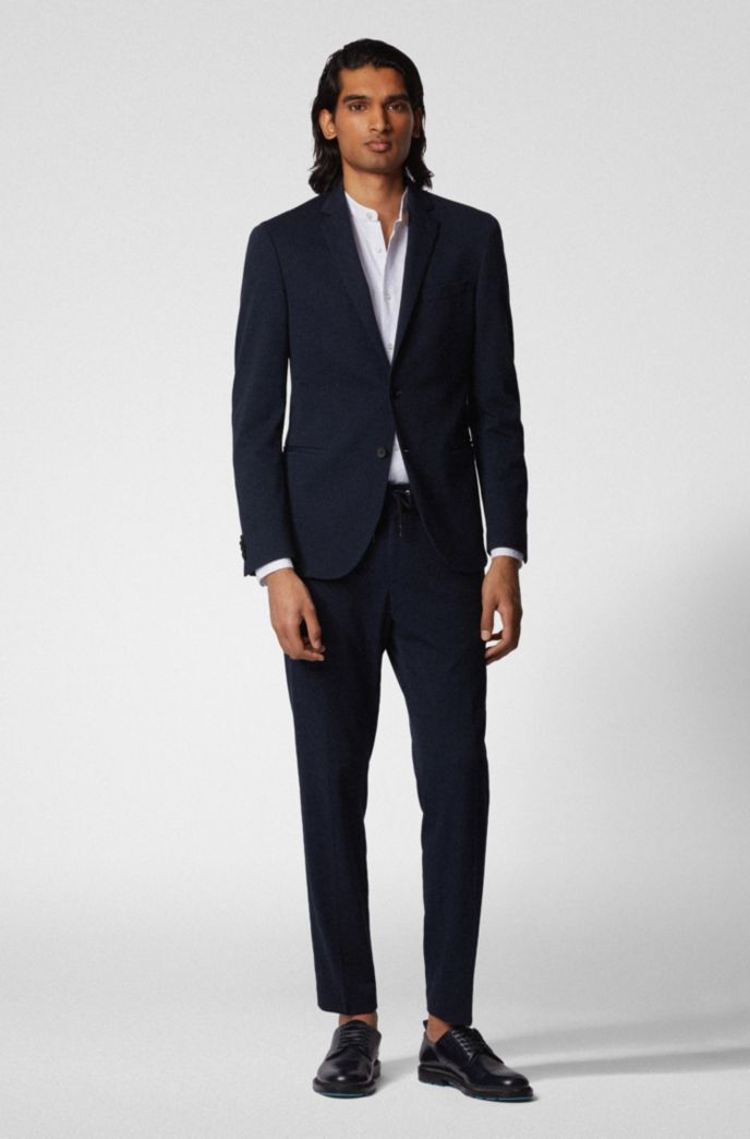 Slim-fit jacket in cotton-blend jersey