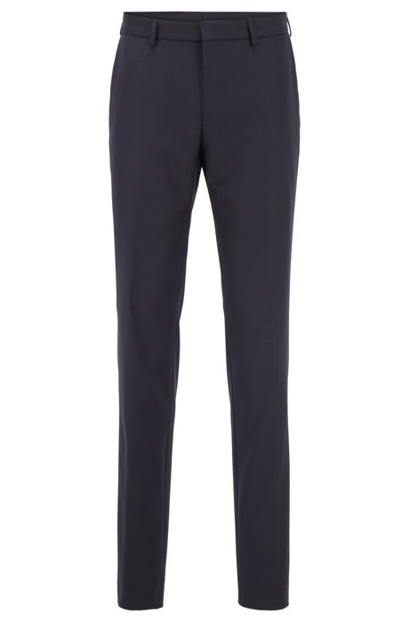 Slim-fit pants in a washable traceable-wool blend, Dark Blue