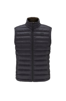 Packable down gilet in water-repellent fabric, Black