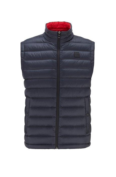 Packable down gilet in water-repellent fabric, Dark Blue