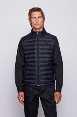 Packable down gilet in water-repellent fabric, Dark Blue