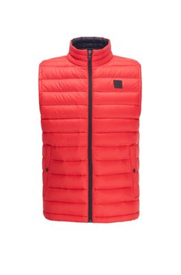 Packable down gilet in water-repellent fabric, Red