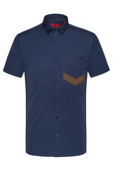 Extra-slim-fit short-sleeved shirt with chevron pocket, Dark Blue