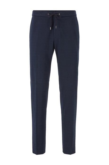 Slim-fit pants with a drawstring waist, Dark Blue