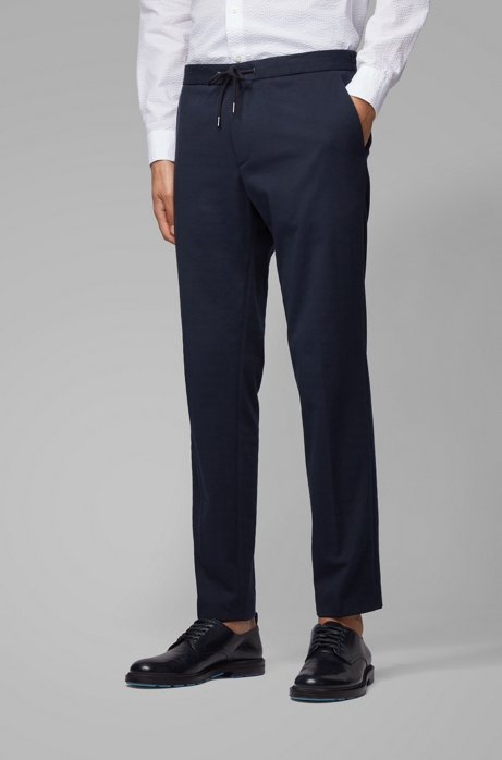 Slim-fit pants with a drawstring waist, Dark Blue
