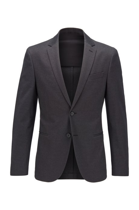 Slim-fit jacket in a melange cotton blend, Grey