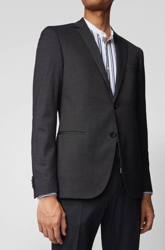 Slim-fit jacket in a melange cotton blend