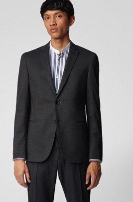 Slim-fit jacket in a melange cotton blend, Grey