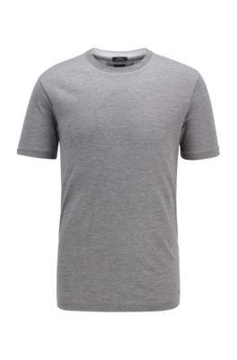 Slim-fit T-shirt in silk-blend vanisee, Grey