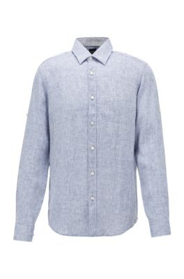 Regular-fit shirt in chambray linen, Dark Blue