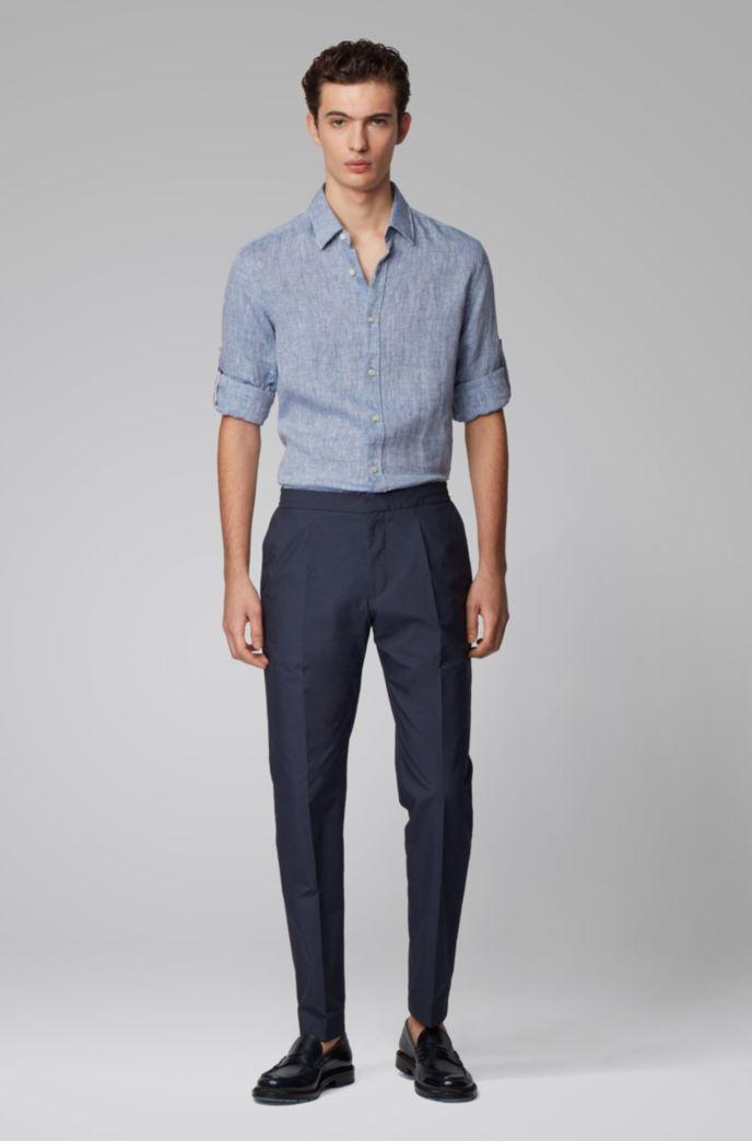 Regular-fit shirt in chambray linen