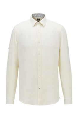 Regular-fit shirt in chambray linen, Light Yellow