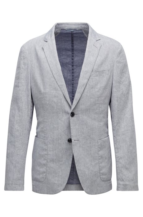 Slim-fit jacket in a stretch-linen blend, Blue