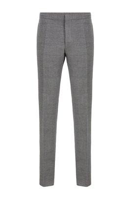 Slim-fit cropped pants in virgin wool and linen, Grey