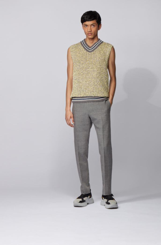 Slim-fit cropped pants in virgin wool and linen