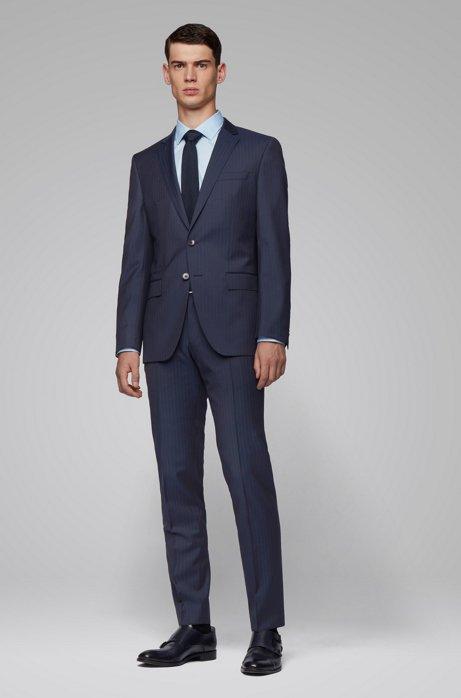 Striped slim-fit suit in a virgin-wool blend, Dark Blue