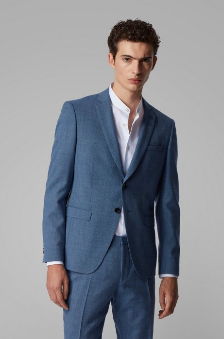 Extra-slim-fit virgin-wool jacket with natural stretch, Open Blue