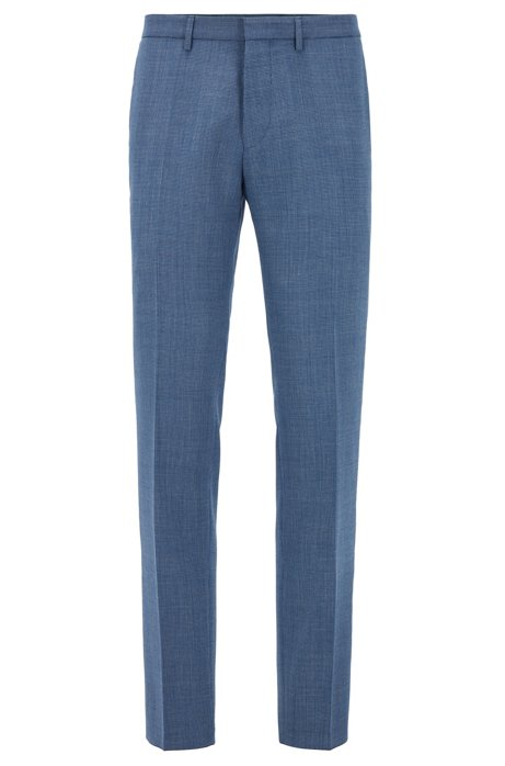 Extra-slim-fit pants in virgin-wool serge, Open Blue