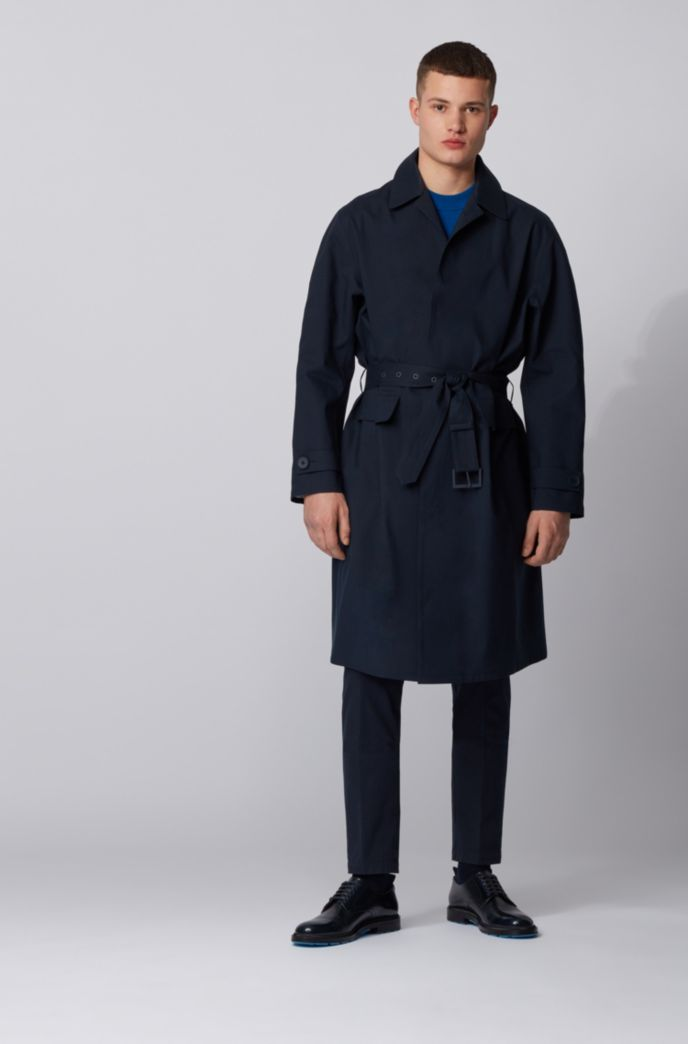 Relaxed-fit coat with concealed closure in cotton