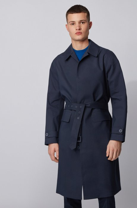 Relaxed-fit coat with concealed closure in cotton, Dark Blue