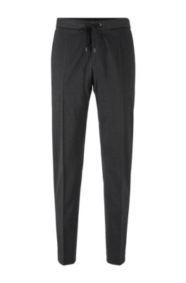 Slim-fit pants in a cotton blend, Grey