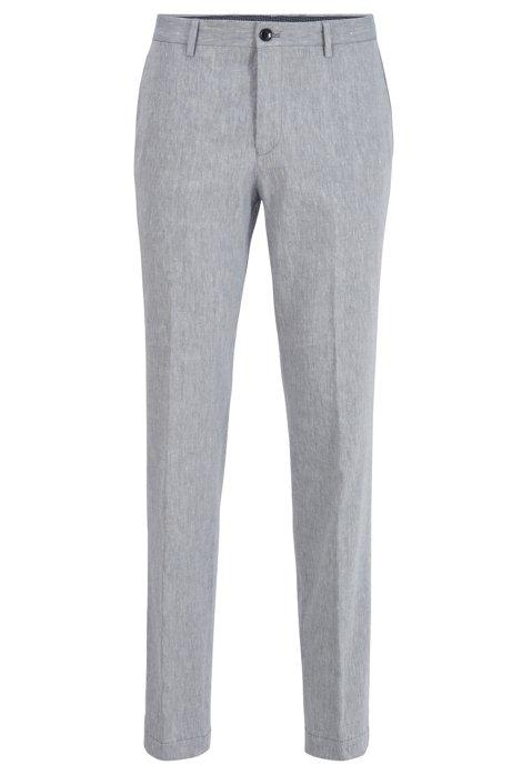 Slim-fit pants in a linen blend, Blue